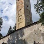 Engadine, St. Moritz, Leaning Tower with flowers