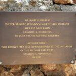 Engadine, St. Moritz, Piz Nair, Ibex, Bronze statue plate