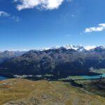 Engadine, St. Moritz, Piz Nair, view in direction Corvatsch with Lej da Champfer, Lake Silvaplana and Lake St. Moritz