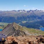 Engadine, St. Moritz, Piz Nair, view in direction Lej Alv, Lake of St. Moritz, Samedan, Pontresina, Muottas Muragl, with Organizational Science AG Logo