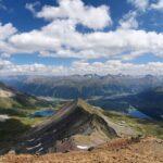 Engadine, St. Moritz, Piz Nair, view in direction Piz Nair Pitschen, Muottas Muragl with Lej Alv and Lake of St. Moritz