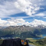 Engadine, St. Moritz, Piz Nair, view in direction St. Moritz, Surlej with lakes St. Moritz, Champfer and Silvaplana, with Organizational Science AG Logo