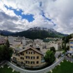 Engadine, St. Moritz, panoramic view of Dorf, Lake and Bad, from the Leaning Tower, Muottas Muragl to Corvatsch