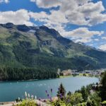 Engadine, St. Moritz, view from Kulm Hotel over Palace Hotel and Lake of St. Moritz