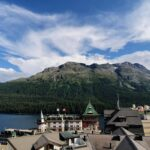Engadine, St. Moritz, view on St. Moritz, Palace Hotel tower and St. Moritz Lake
