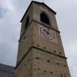 Engadine, Val Müstair, Saint John Abbey, Müstair, Church tower with sun dial