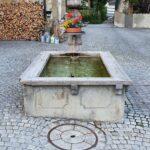 Engadine, Zuoz, stone water fountain