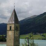 Engadine, parallel Valley Reschensee, Church Tower, Kirchturm von Alt-Graun